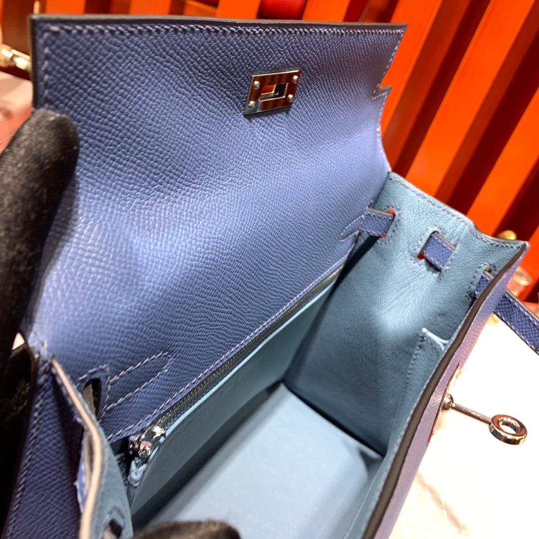 Hermes Kelly25CM 爱马仕顶级手掌纹牛皮凯莉包 玛瑙蓝 银扣