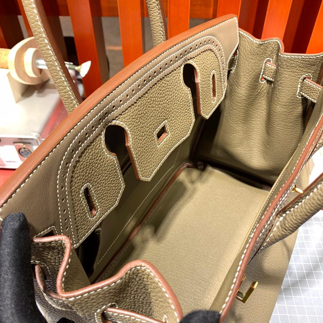 手工缝制 Hermes爱马仕限量款蕾丝铂金包Birkin30cm 大象灰Togo牛皮 金扣