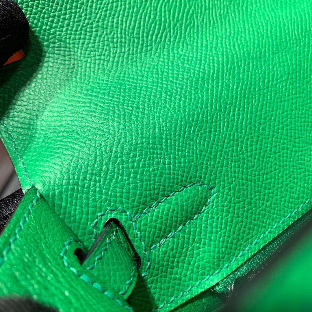 爱马仕凯莉包尺寸 Hermes Kelly25CM 竹子绿十字纹牛皮 银扣
