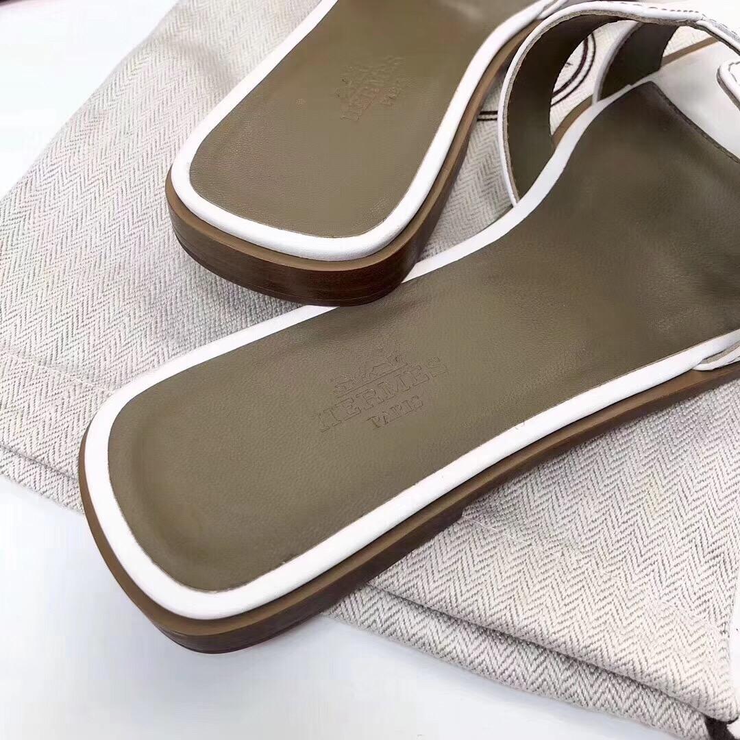 爱马仕拖鞋定制 Hermes进口顶级牛皮经典女士拖鞋凉鞋 白色