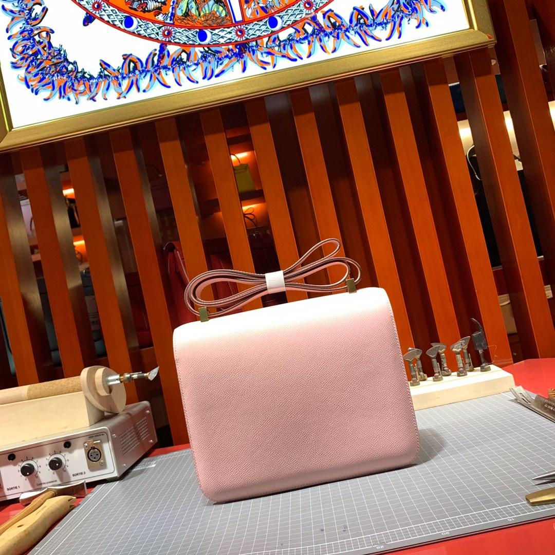 Hermes Constance24CM 爱马仕3Q粉色顶级掌纹牛皮空姐包斜挎女包 金扣