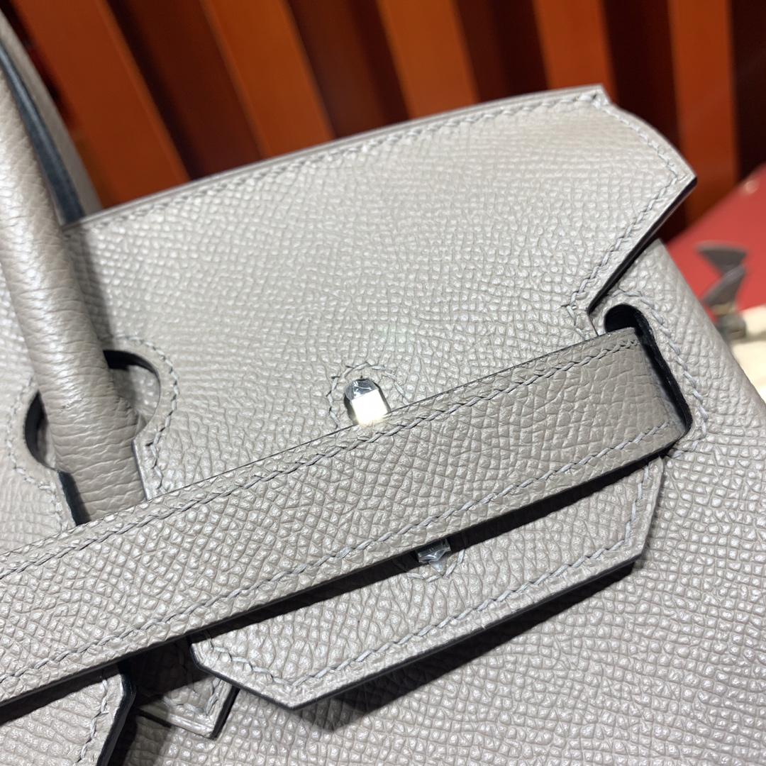 Hermes Birkin25CM 爱马仕M8沥青灰十字纹牛皮铂金包 银扣