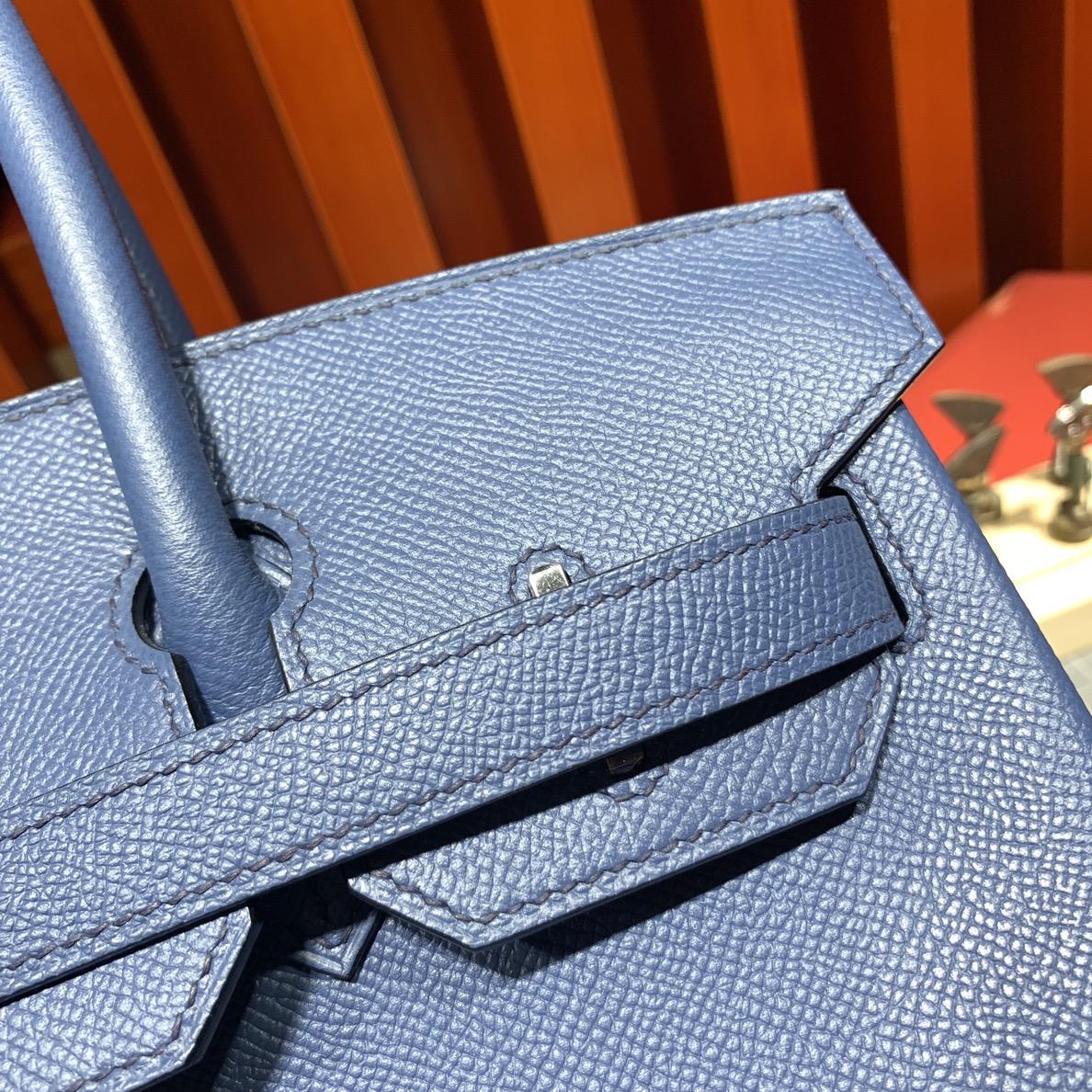 爱马仕铂金包尺寸 Hermes Birkin25CM R2玛瑙蓝顶级Epsom牛皮 银扣