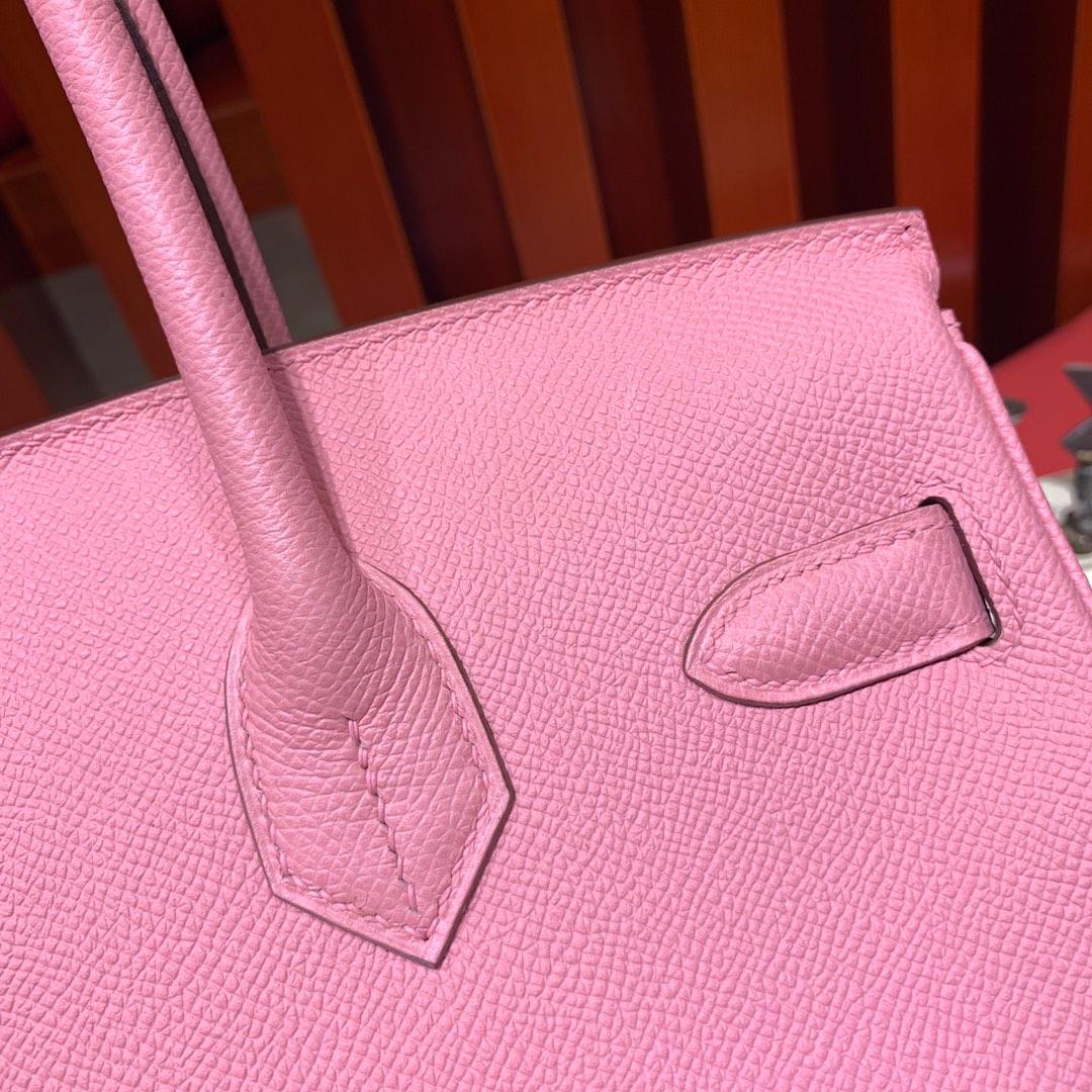 爱马仕包包定制 Hermes进口手掌纹牛皮铂金包Birkin25CM 1Q奶昔粉 金扣