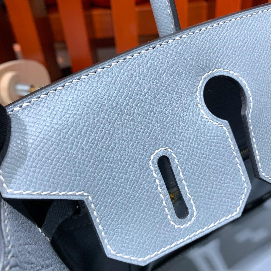 Hermes经典女包 爱马仕J7亚麻蓝顶级Epsom牛皮铂金包Birkin25CM 金扣