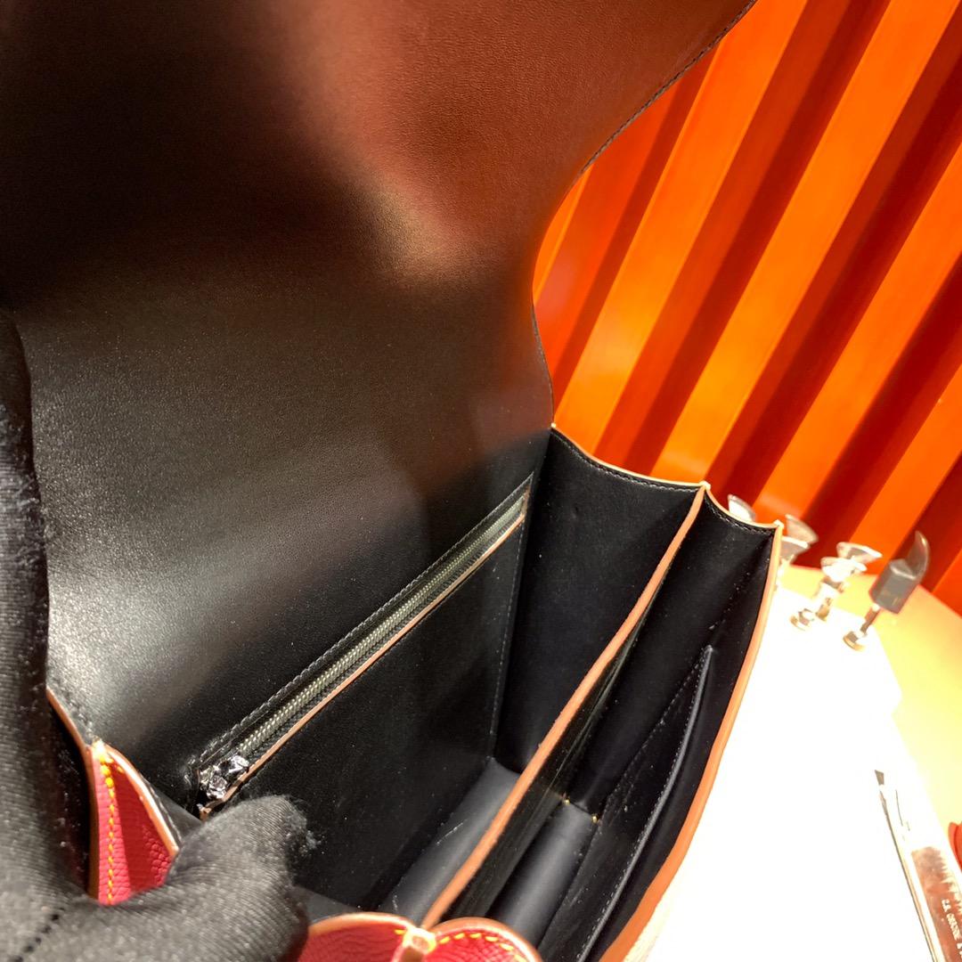 爱马仕拼色空姐包 Hermes Constance24cm 唇膏粉内拼黑色Epsom牛皮 银扣
