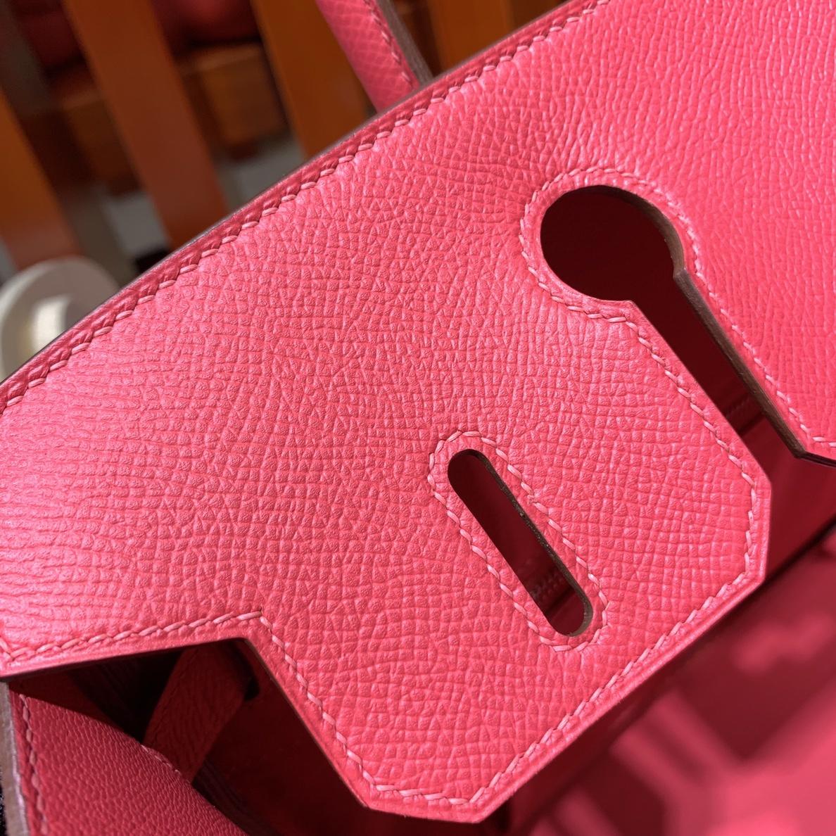爱马仕铂金包尺寸 Hermes进口Epsom牛皮Birkin25CM Q5大红 银扣