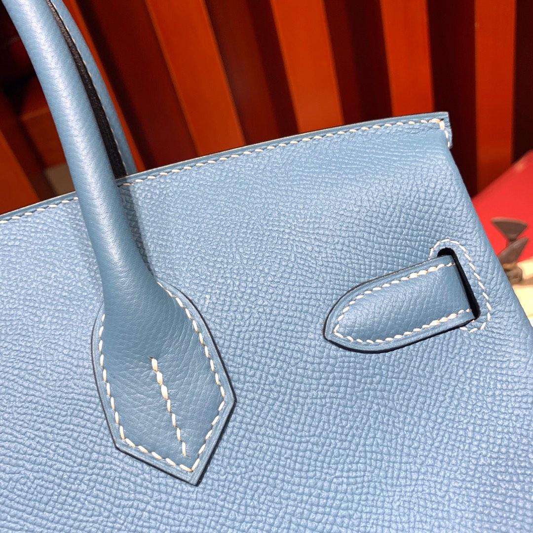 爱马仕Birkin包包 Hermes Birkin25CM 75牛仔蓝手掌纹牛皮 银扣