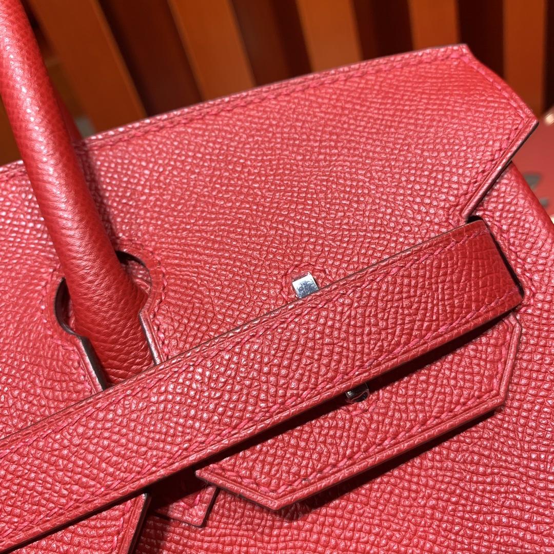 Hermes女包批发 爱马仕Q5中国红手掌纹牛皮铂金包Birkin25CM 银扣
