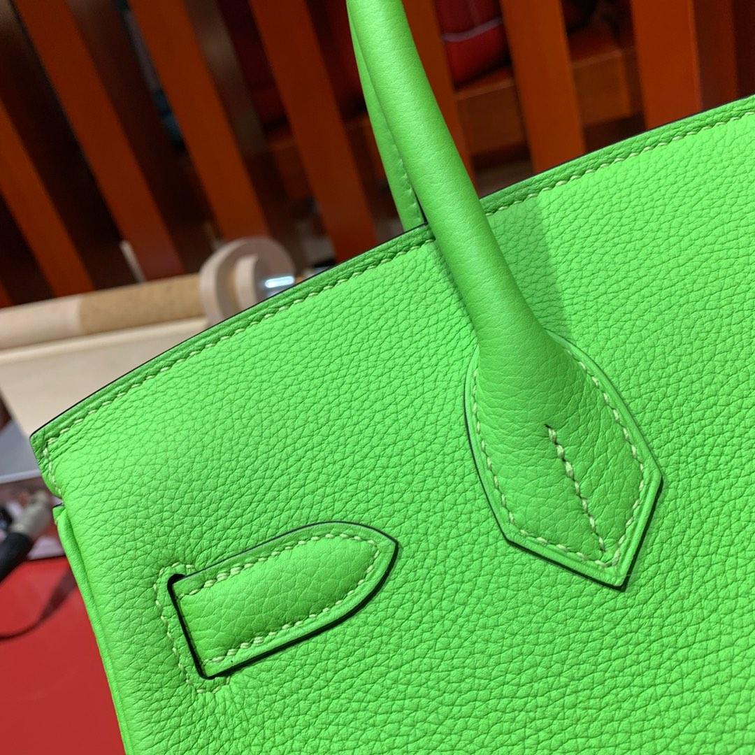 爱马仕Birkin包包 Hermes2019新色苹果绿进口Togo牛皮铂金包 银扣
