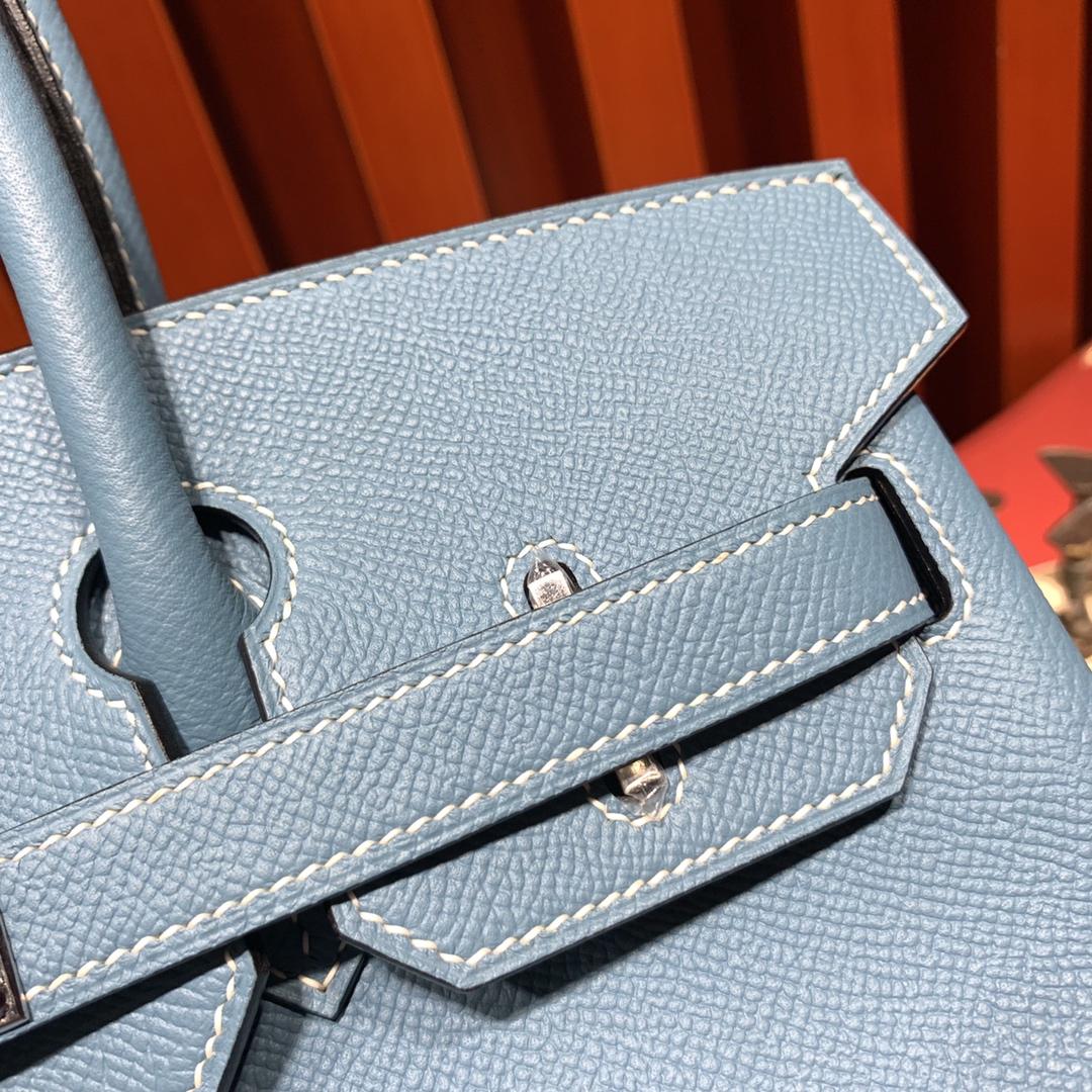 Hermes女包价格 爱马仕75牛仔蓝进口Epsom牛皮铂金包Birkin25CM 银扣