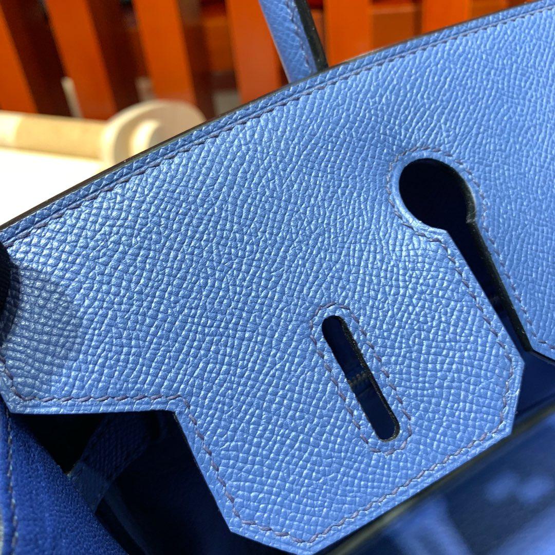 爱马仕铂金包价格 Hermes进口手掌纹牛皮Birkin25CM R2玛瑙蓝 金扣