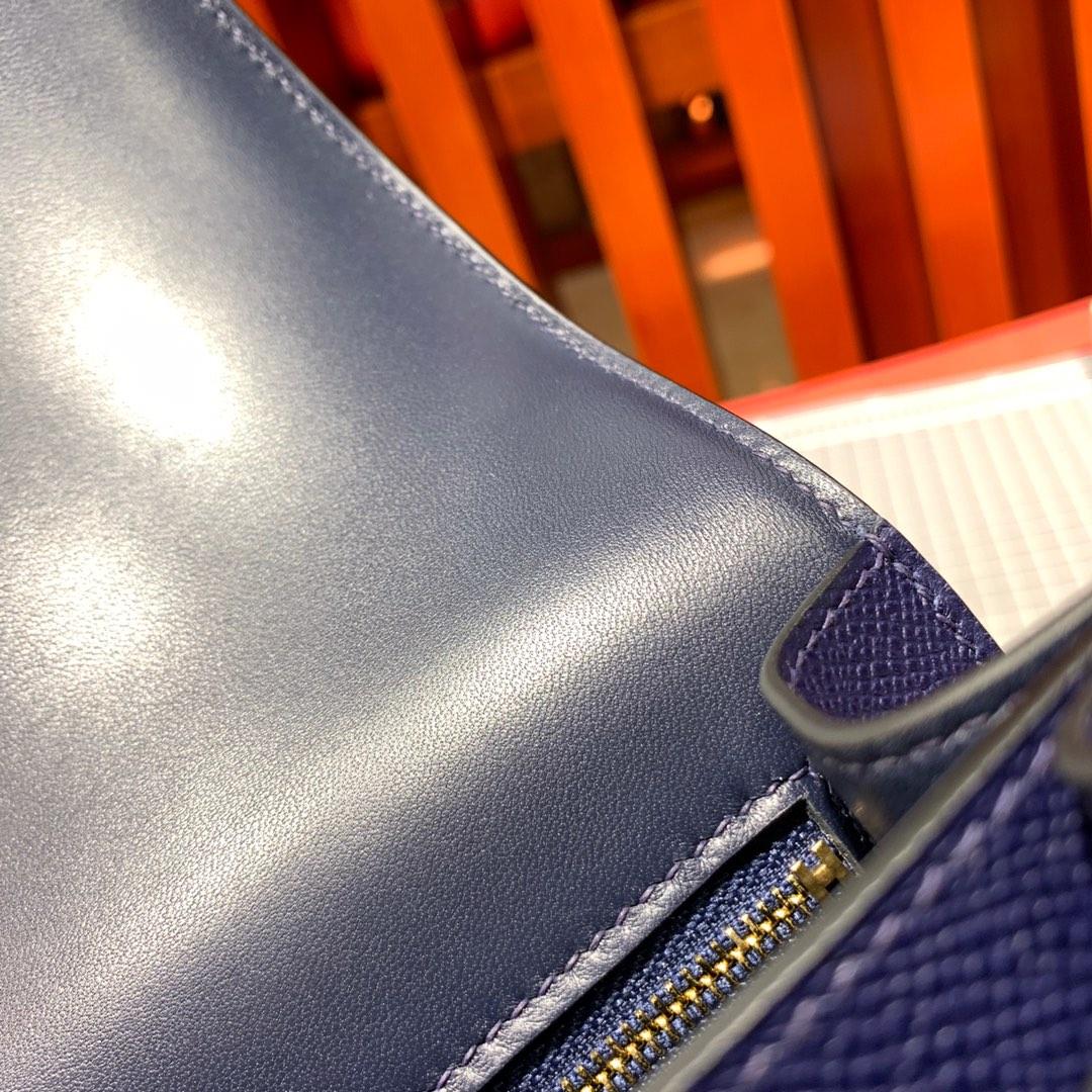 爱马仕空姐包尺寸 Hermes Constance24CM 宝石蓝进口Epsom牛皮 金扣