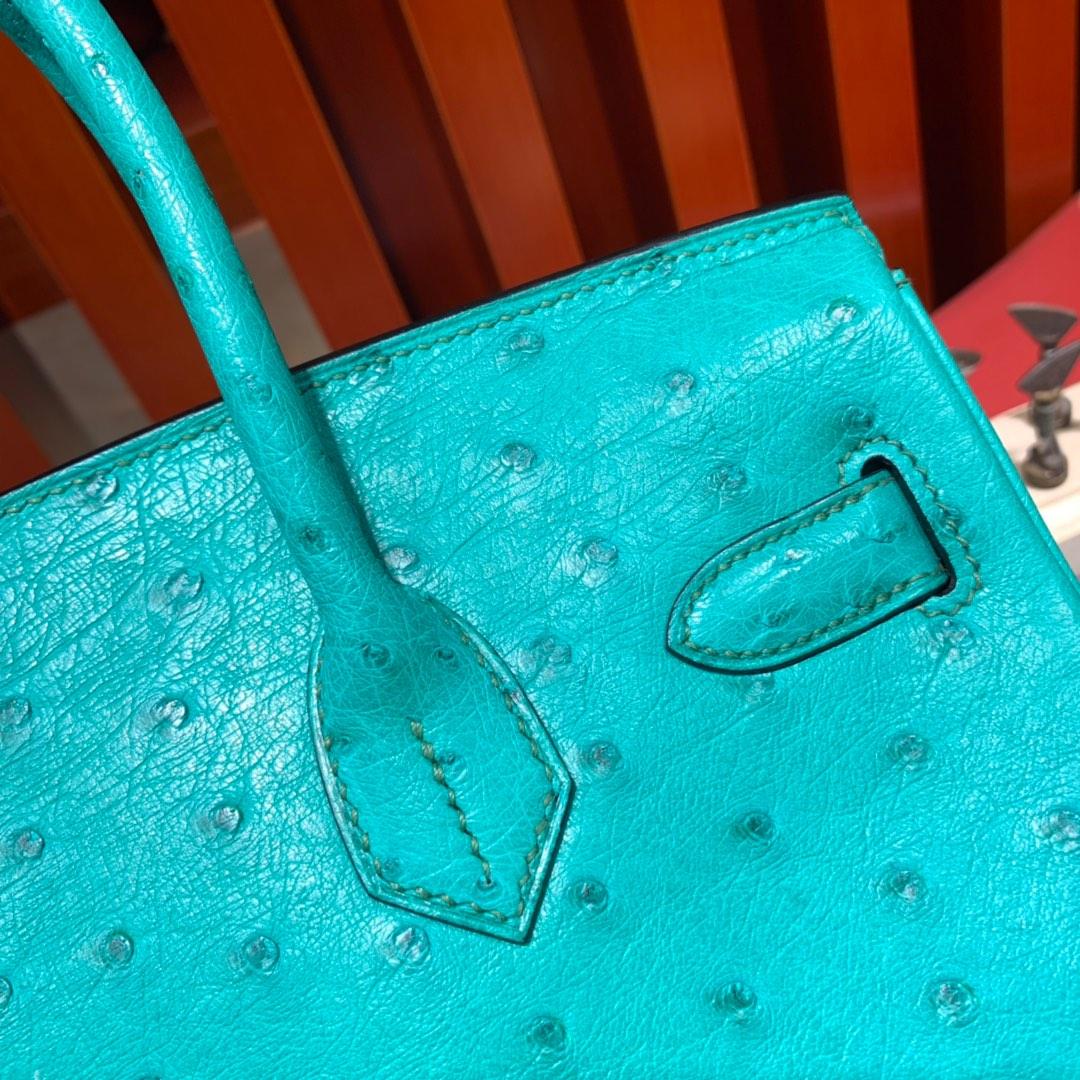 现货 爱马仕铂金包价格 Hermes Birkin30CM 薄荷绿南非鸵鸟皮铂金包 金扣