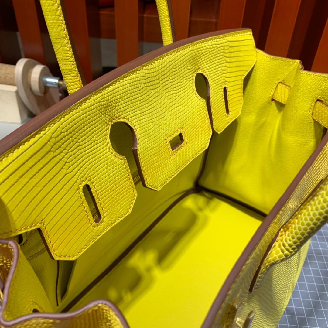 Hermes包包官网 爱马仕柠檬黄进口蜥蜴皮铂金包Birkin30CM 金扣