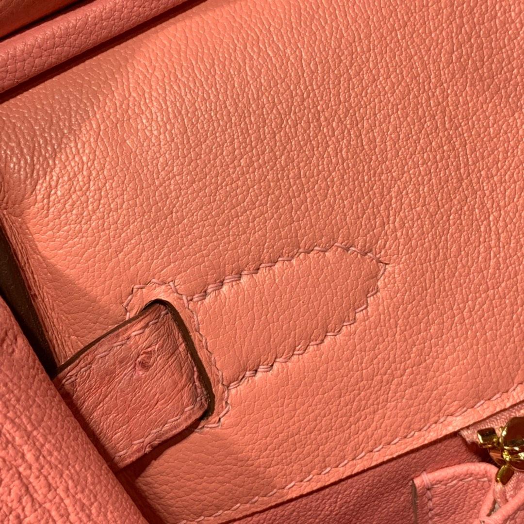 现货 Hermes Birkin30CM 爱马仕陶瓷粉南非鸵鸟皮铂金包 金扣
