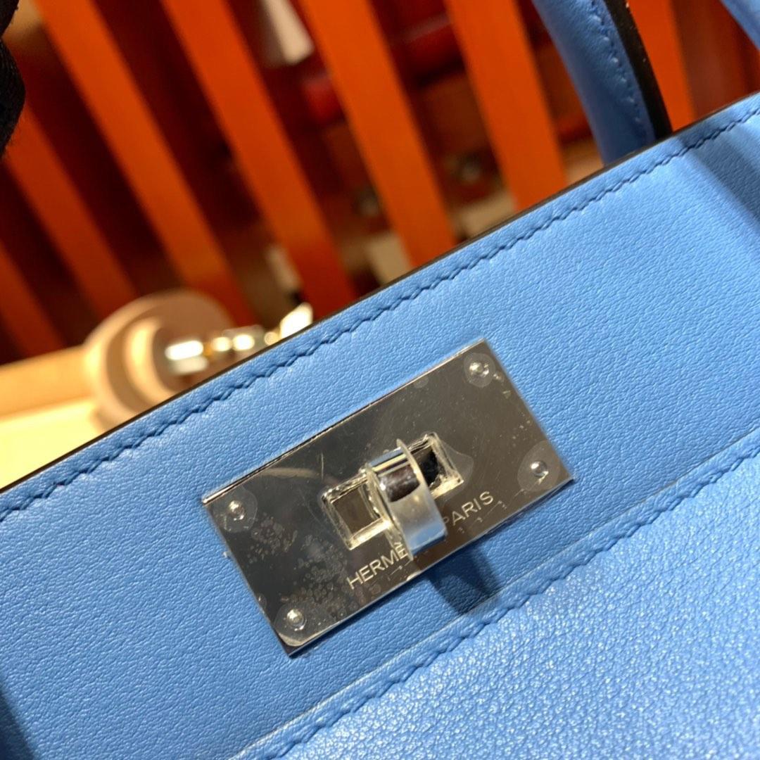 现货 Hermes Toolbox20CM 爱马仕2T天堂蓝进口swift牛皮牛奶包 银扣
