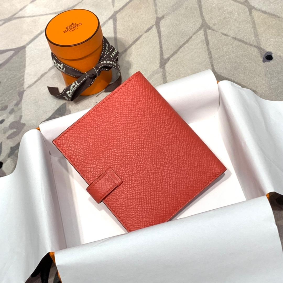 现货 蜡线手缝 Hermes爱马仕T5西瓜红epsom牛皮Bearn短款钱包 银扣