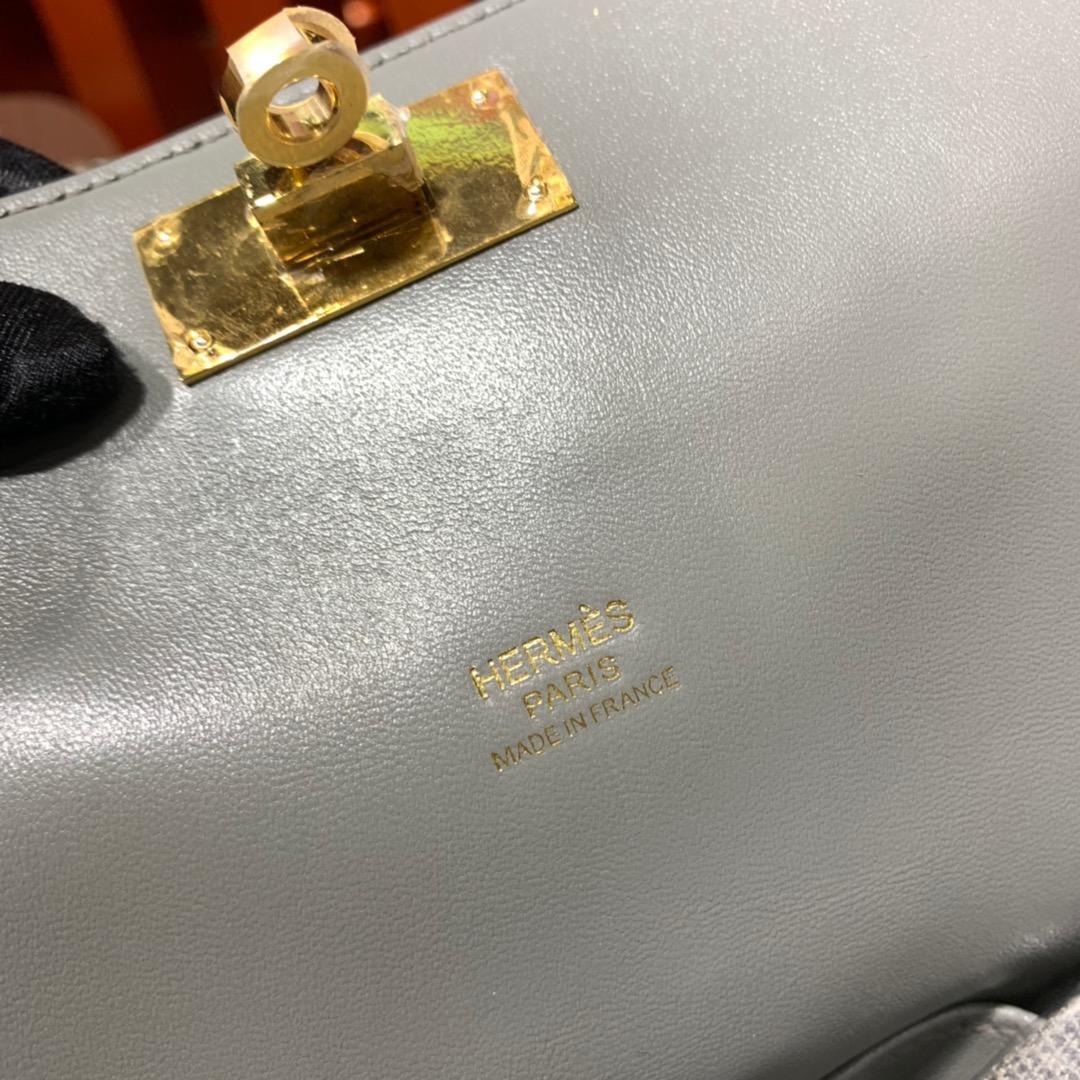 现货 爱马仕牛奶包价格 Hermes Toolbox 8F锡器灰swift皮 金扣