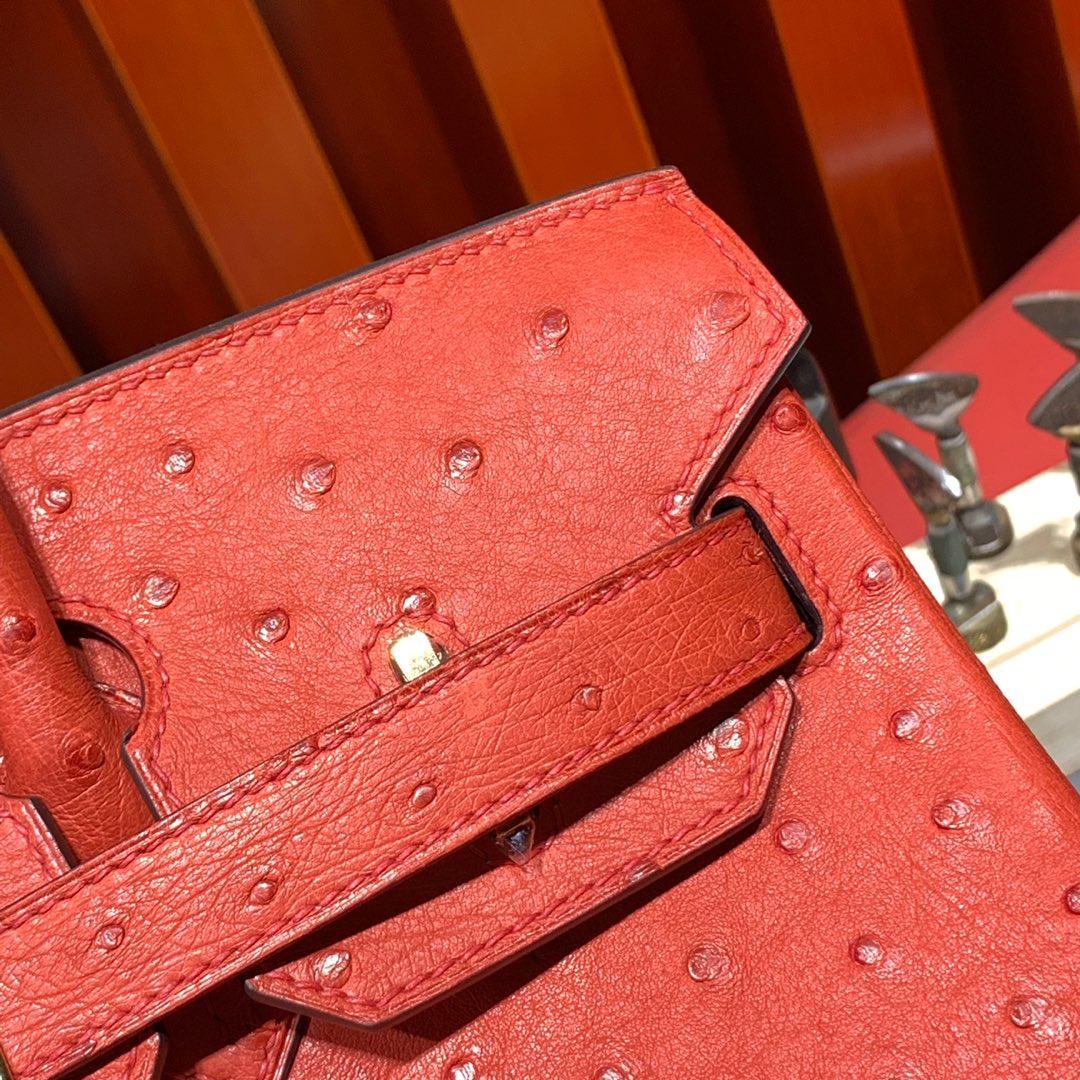 现货 Hermes Birkin30CM 爱马仕蕃茄红南非鸵鸟皮铂金包 金扣