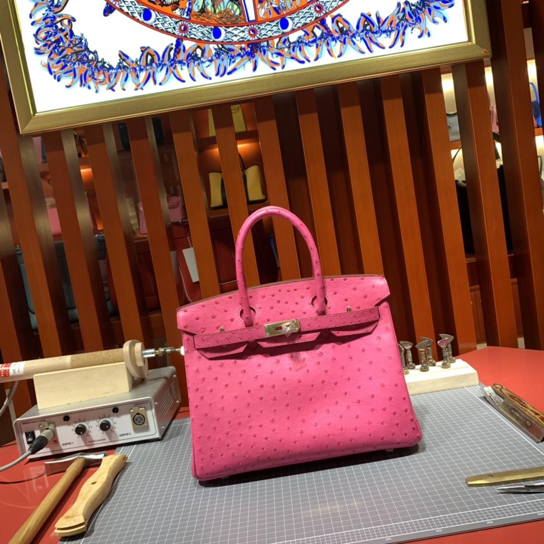 现货 Hermes新款女包 爱马仕桃红色南非鸵鸟皮手工缝制铂金包Birkin30CM 金扣