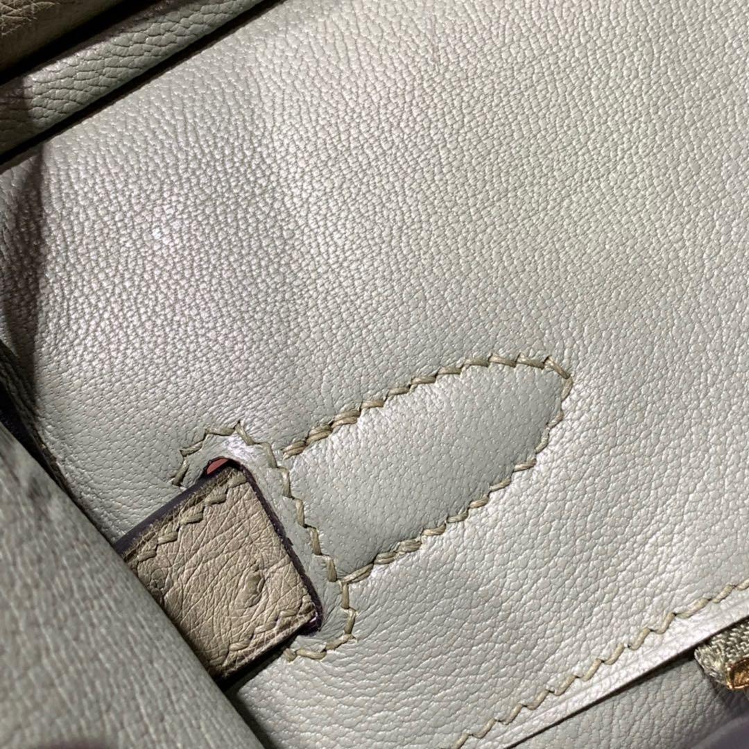 现货 Hermes Birkin30CM 爱马仕新到现货灰鼠绿南非鸵鸟皮铂金包 金扣