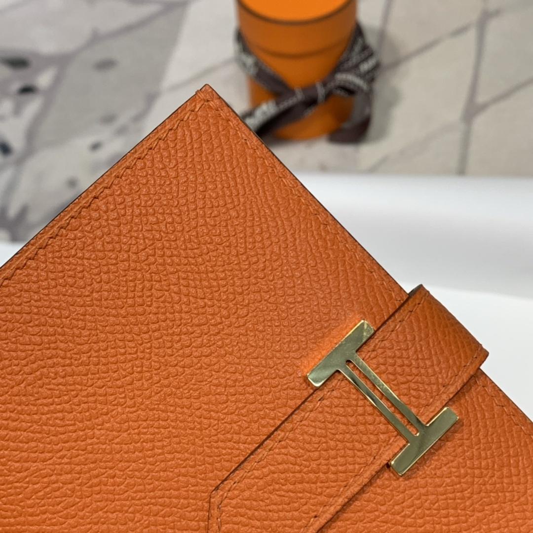 现货 爱马仕钱包批发 Hermes橙色Epsom牛皮Bearn钱包短款 金扣