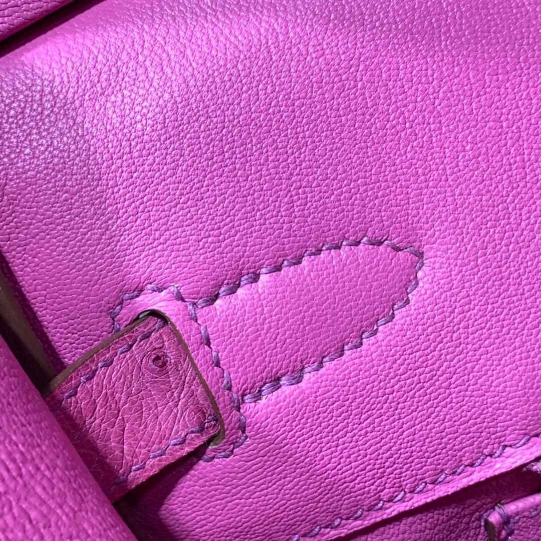 现货 爱马仕铂金包尺寸 Hermes浅玫红色南非鸵鸟皮Birkin30铂金包 金扣
