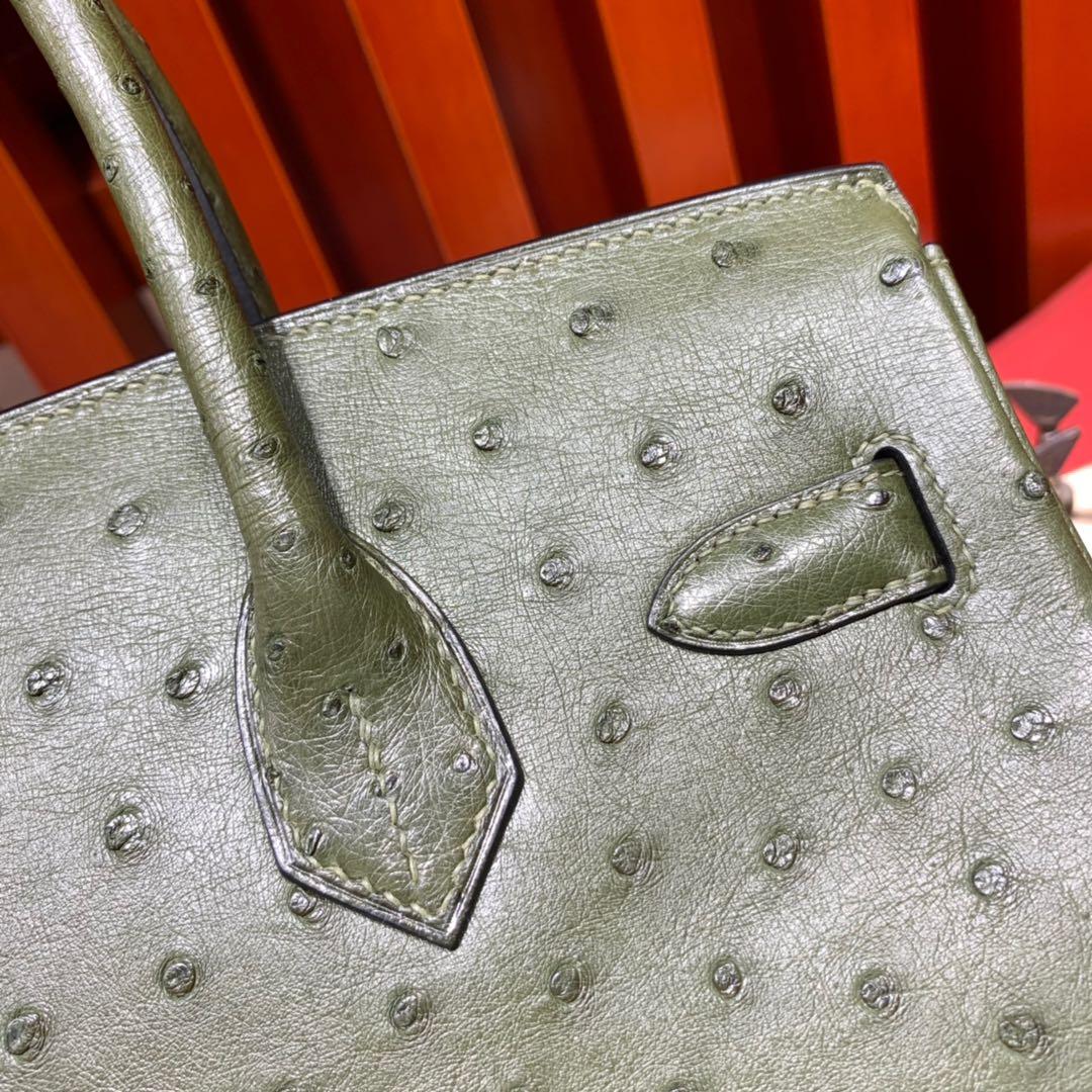 现货 Hermes女包定制 爱马仕丛林绿南非鸵鸟皮铂金包Birkin30CM 金扣