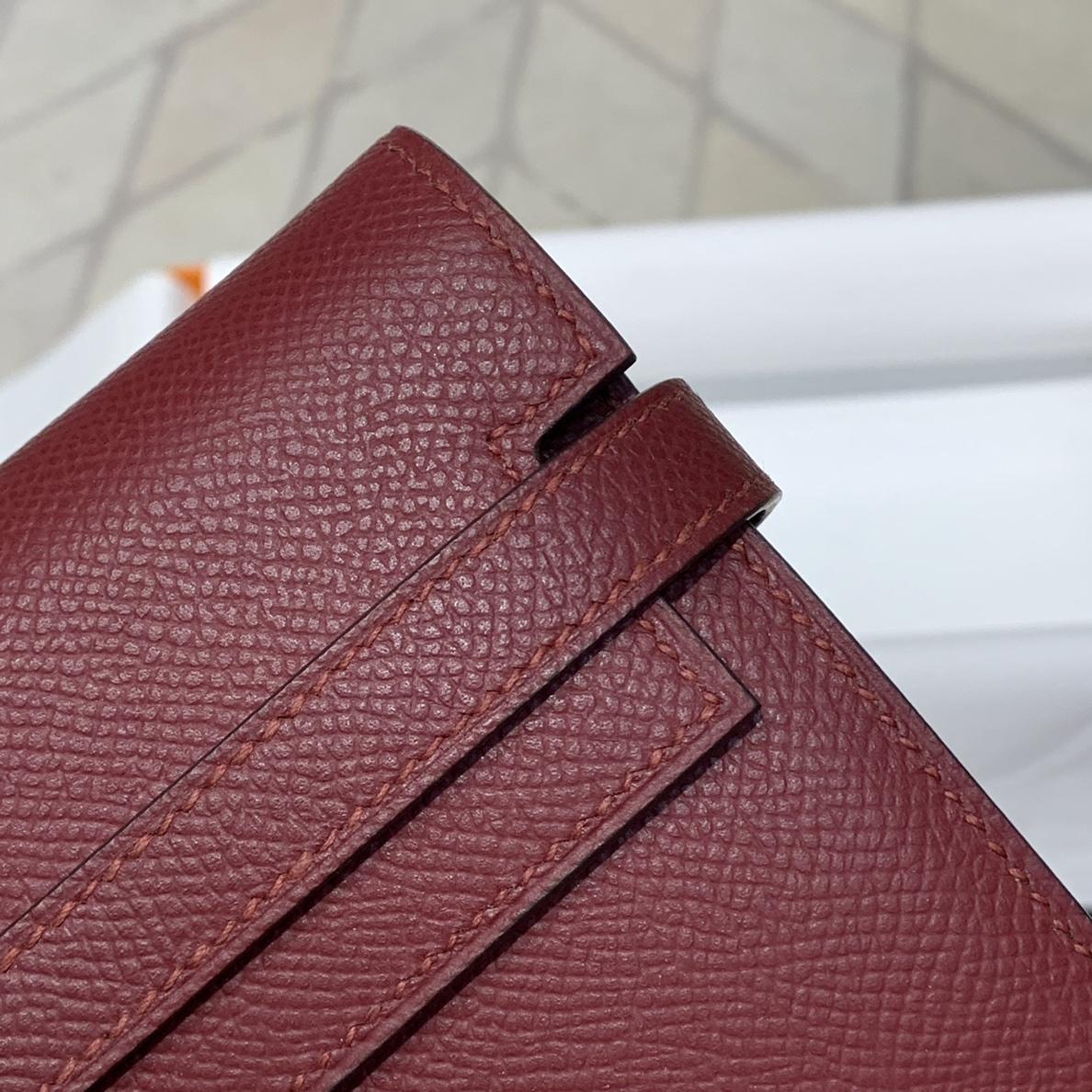现货 Hermes钱包批发 爱马仕原厂Epsom牛皮Kelly凯莉钱夹手拿包 57酒红色 银扣