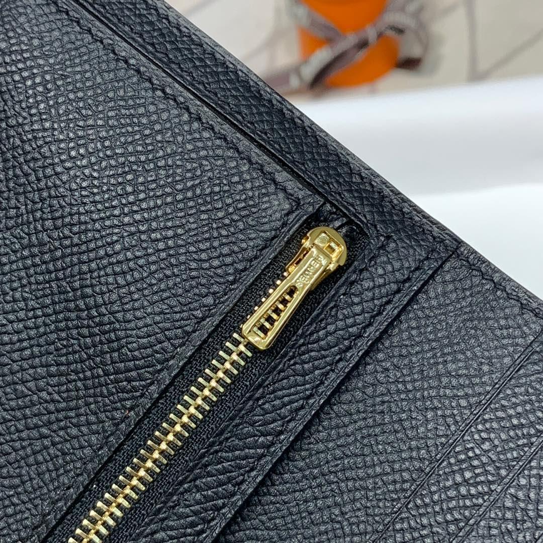 现货 爱马仕钱包价格 Hermes89黑色Epsom牛皮Bearn短款钱夹 金扣