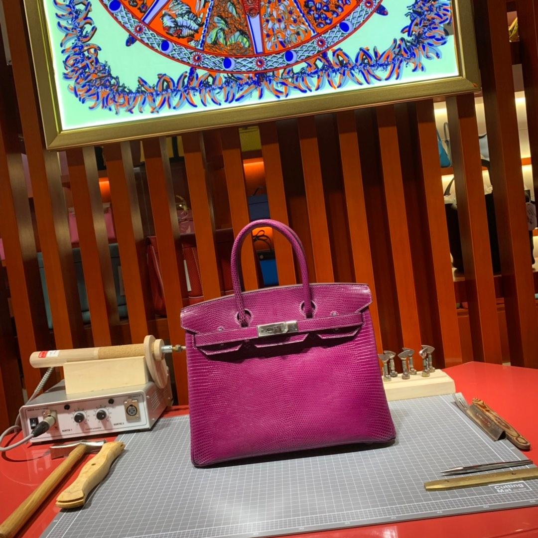 纯手工缝制 Hermes爱马仕玫紫色原厂蜥蜴皮铂金包Birkin30CM 银扣