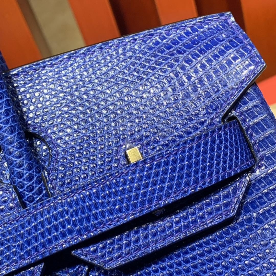 爱马仕铂金包价格 Hermes Birkin30CM 电光蓝蜥蜴皮Birkin包包 金扣