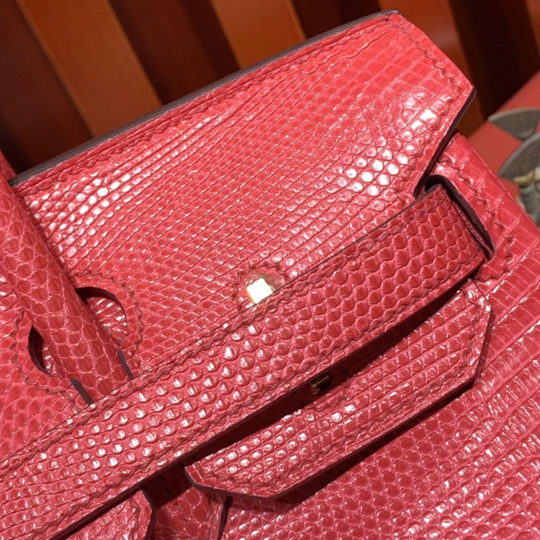 爱马仕铂金包价格 Hermes Birkin30CM 西瓜红蜥蜴皮Lizard 金扣
