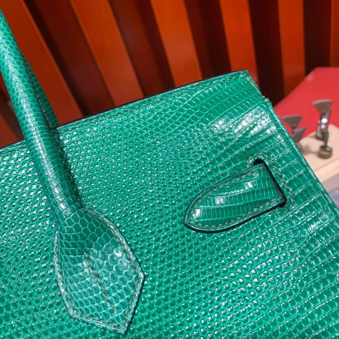 爱马仕铂金包定制 Hermes草绿色进口蜥蜴皮铂金包Birkin30CM 金扣