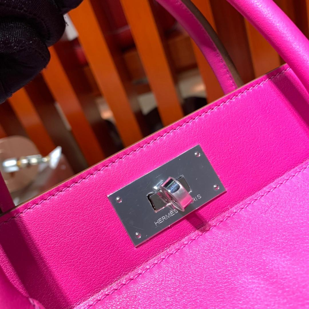 爱马仕手提包 Hermes Toolbox L3玫瑰紫Swift牛皮牛奶包20CM 银扣
