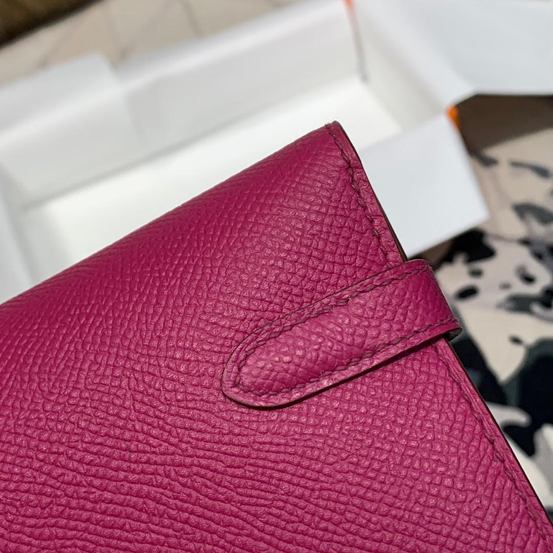 现货 爱马仕经典钱包 Hermes原厂epsom牛皮凯莉钱夹Kelly Wallet L3玫瑰紫 金扣