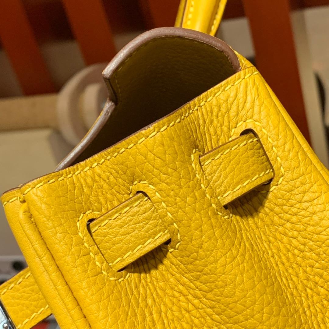 现货 爱马仕Kelly包包 HermesTogo小牛皮内缝凯莉包25CM 9D琥珀黄 金/银扣
