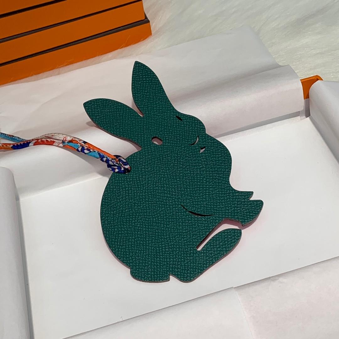 爱马仕手缝挂件 Hermes多色原厂Epsom牛皮兔子挂件包包挂饰