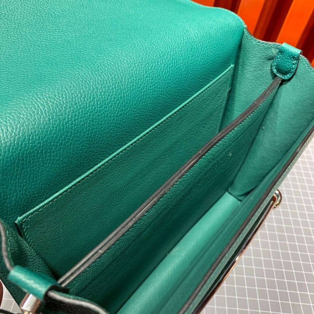 现货 爱马仕猪鼻子包 Hermes Roulis24CM Z6孔雀绿Evercolor牛皮 金银扣