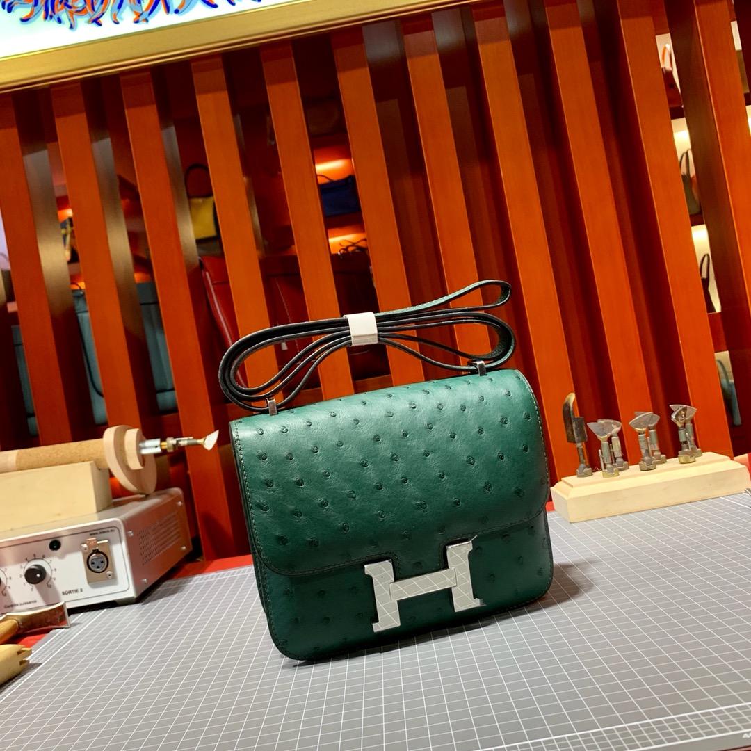 新货 爱马仕鸵鸟皮空姐包 Hermes Constance19CM Z6孔雀绿顶级手缝 银扣