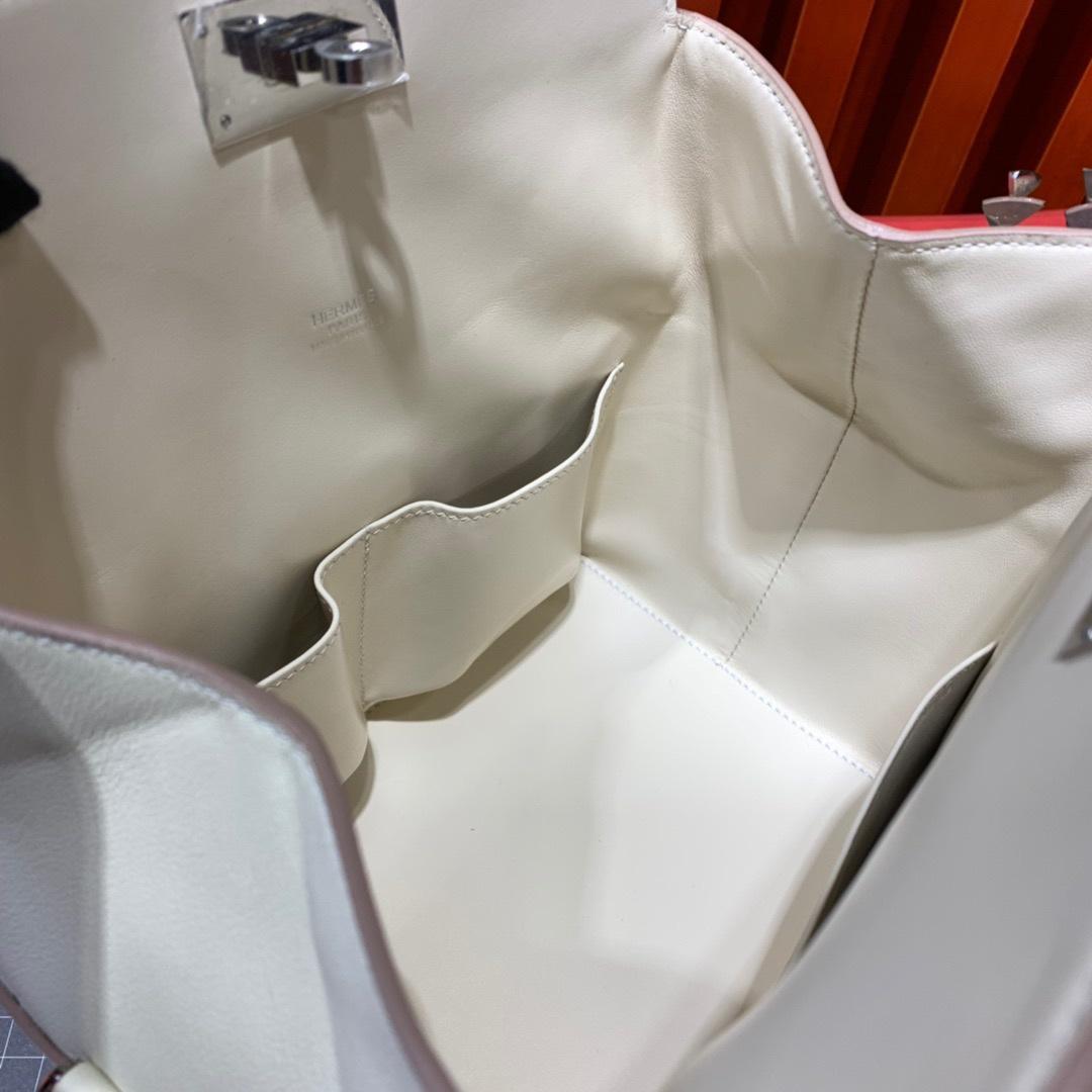 爱马仕牛奶包 Hermes Toolbox20CM cc10奶昔白swift皮手提女包 银扣