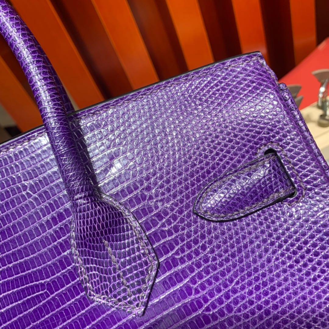 Hermes新款女包 爱马仕梦幻稀有蜥蜴皮铂金包Birkin30CM 金扣