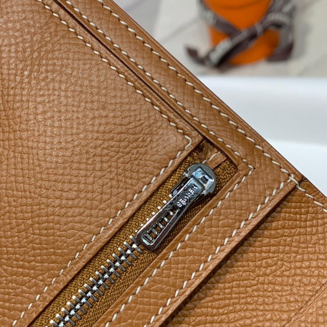 现货 Hermes钱包价格 爱马仕CK37土黄epsom牛皮Bearn短款钱夹 银扣
