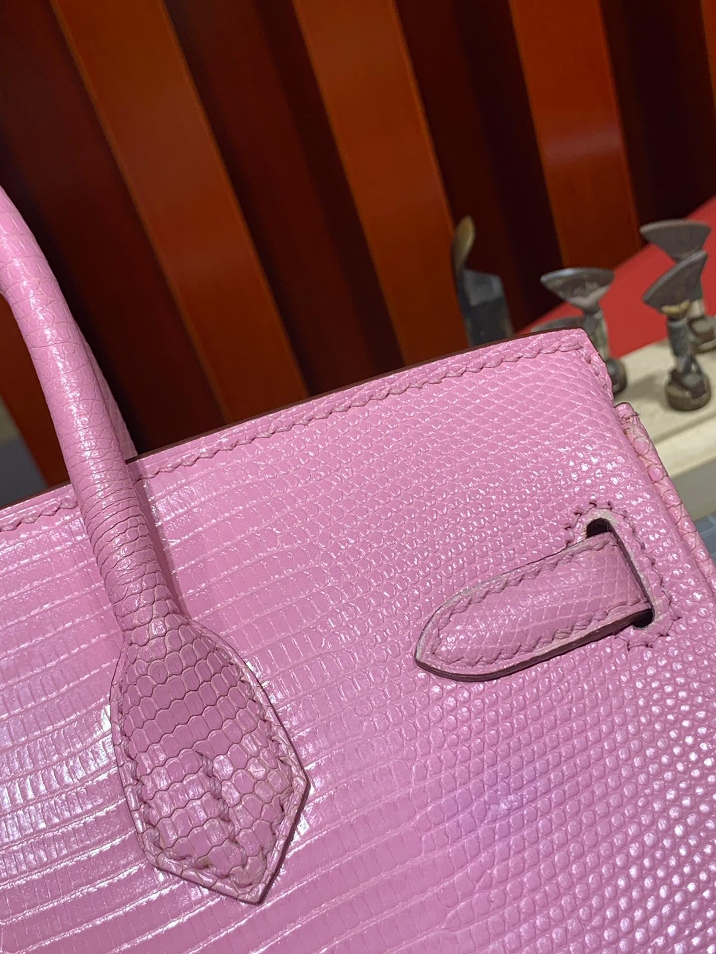 Hermes包包批发 爱马仕稀有动物皮蜥蜴皮铂金包Birkin30CM 樱花粉 金扣
