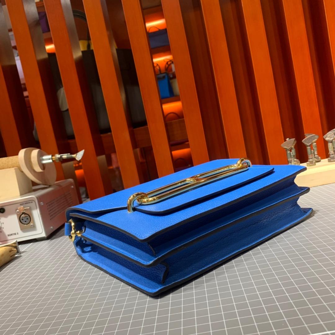 现货 Hermes Roulis24CM 爱马仕猪鼻子包 7Q希腊蓝原厂Evercolor牛皮 金银扣
