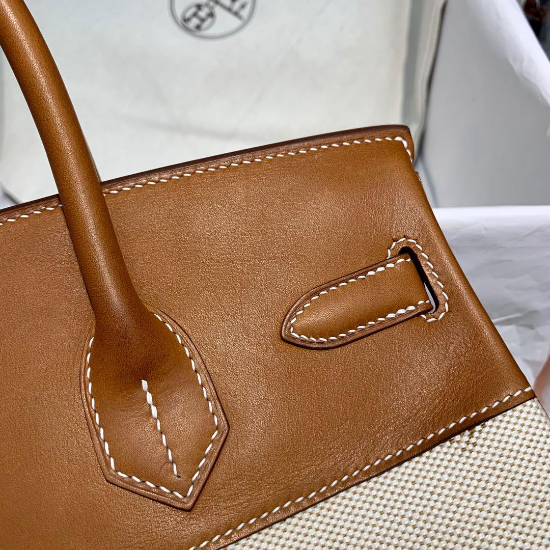 订制 爱马仕拼色铂金包 Hermes Birkin30CM 金棕色马鞍皮拼帆布 银扣
