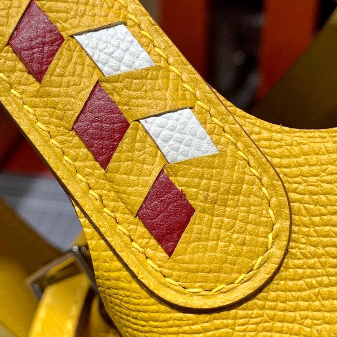 现货 爱马仕菜篮子包限量版编织手柄 Hermes Picotin18CM 9D琥珀黄Epsom皮 银扣