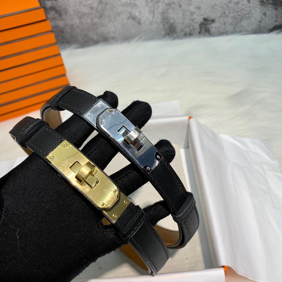 爱马仕Kelly腰带 Hermes黑色Epsom牛皮Kelly扣均码尺寸女款腰带皮带 金银扣