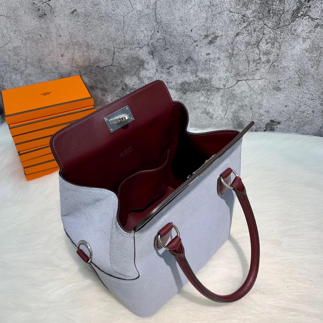 订制 爱马仕拼色牛奶包工具箱 Hermes Toolbox20CM 酒红色swift皮拼磨砂皮 银扣